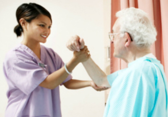 girl stretches arm of oncology man