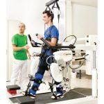 White robotic gait training device.